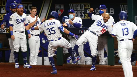 Cody Bellinger and Mookie Betts celebrate after Bellinger