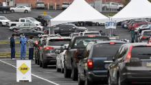 People in cars wait in line for Covid-19 testing in Reading, Pennsylvania, earlier this month.