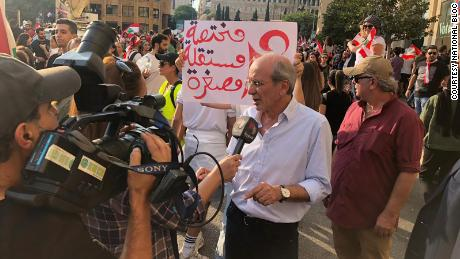 National Bloc Secretary General Pierre Issa speaking at the street protests in the early weeks of Lebanon's popular uprising.