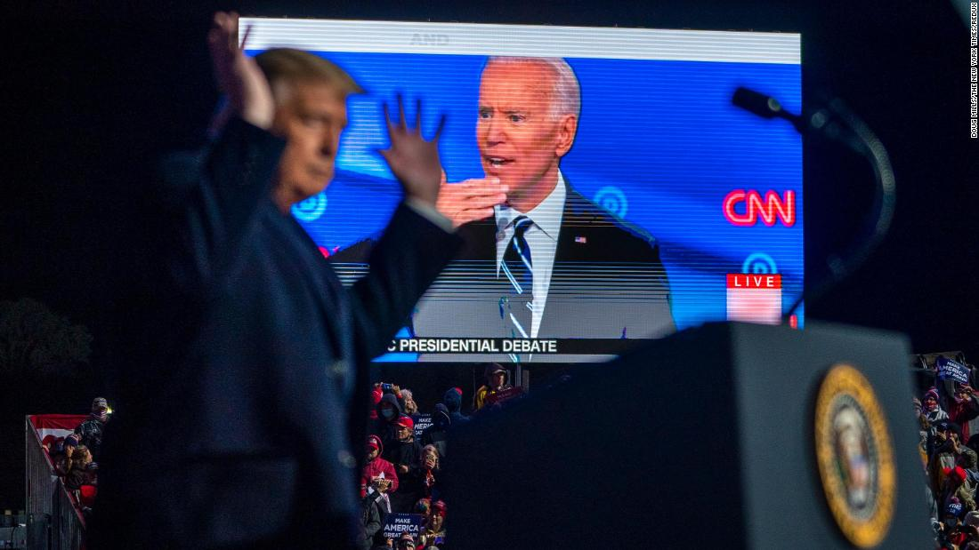 Trump throws up his hands as an ad from Biden's campaign was shown at his rally in Erie.