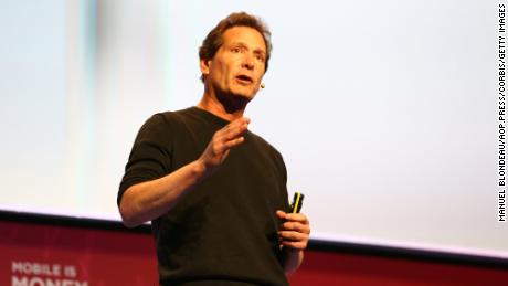 Paypal CEO Dan Schulman delivers his keynote conference during the Mobile World Congress at the Fira Gran Via complex in Barcelona, Spain on February 22, 2016.