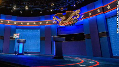 The stage for the final presidential debate of the US 2020 presidential elections at Belmont University on October 21,2020 in Nashville, Tennessee.