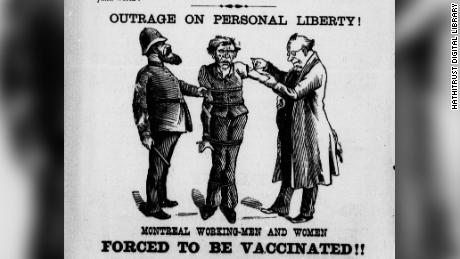 This cartoon depicts a working-class man being forcibly vaccinated by a health official, while held by a policeman.