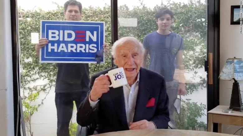 The legendary Mel Brooks takes to social media to share his support of Joe Biden