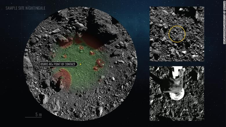 This graphic shows the spot where the spacecraft touched down on the asteroid.