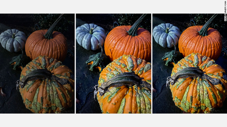 Photos taken at night by the iPhone XR, iPhone 12 and iPhone 12 Pro, from left to right.