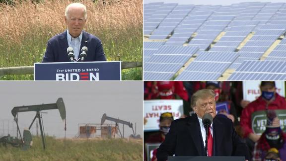 A 2x2 grid split screen showing Donald Trump and Joe Biden and energy industry equipment.