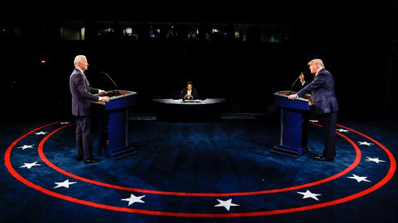 President Donald Trump and Democratic presidential candidate former Vice President Joe Biden participate in the final presidential debate at Belmont University, Thursday, Oct. 22, 2020, in Nashville, Tenn. (Jim Bourg/Pool via AP)