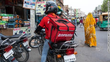 A biker from food delivery company Zomato in Bikaner, India.