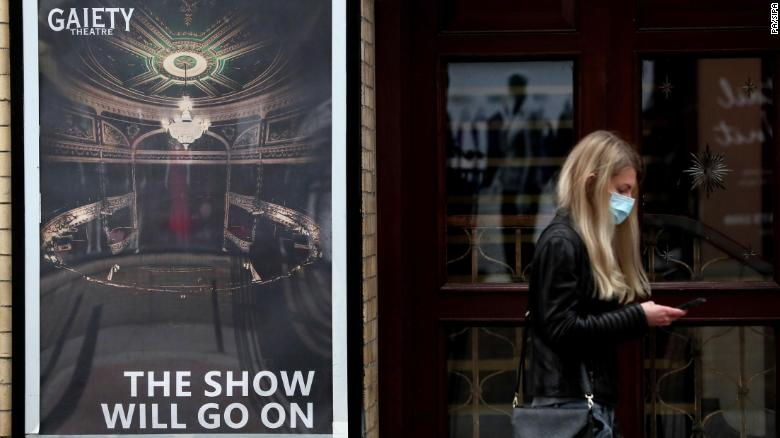 A sign outside the Gaiety Theatre in Dublin's city centre. Ireland has reimposed a national lockdown for six weeks in a bid to combat the rise in cases of the virus.