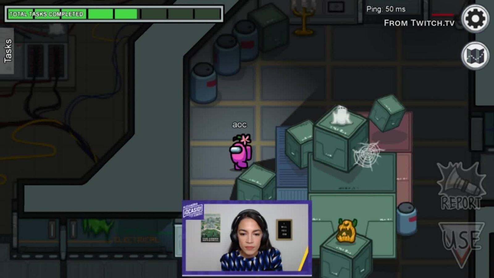 Game On Aoc Streams Viral Hit Game Among Us Cnn Video