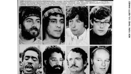 The Chicago Eight (who became the Chicago Seven after Bobby Seale's case was severed): Jerry Rubin, Abbie Hoffman,Tom Hayden, Rennie Davis, Bobby Seale, Lee Weiner, John Froines and David Dellinger, circa 1968.
