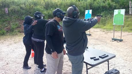 New gun owners train in handgun fundamentals at a range in Covington, Georgia, in September 2020.