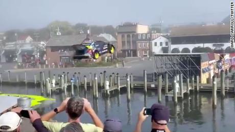 Stunt driver Travis Pastrana successfully jumps a canal in Annapolis, Maryland.