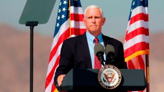 """US Vice President Mike Pence speaks at a """"Make America Great Again"""" rally on October 8, 2020, in Boulder City, Nevada. (Photo by Ronda Churchill / AFP) (Photo by RONDA CHURCHILL/AFP via Getty Images)"""