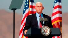 """Vice President Mike Pence speaks at a """"Make America Great Again"""" rally on October 8, 2020, in Boulder City, Nevada."""