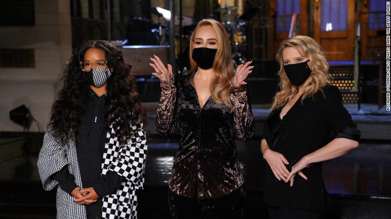 'SNL' musical guest H.E.R., left, host Adele, and Kate McKinnon film promos for Saturday's show on Thursday, October 22.