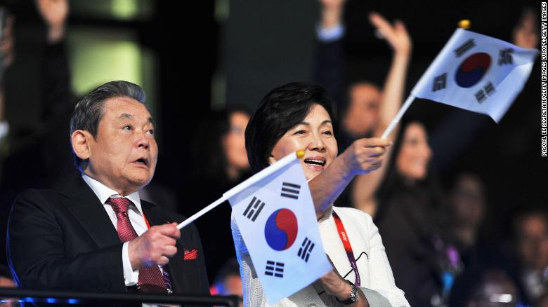Chairman of Samsung Electronics Lee Kun Hee seen with his wife Ra-Hee Hong during the Opening Ceremony of the London 2012 Olympic Games.