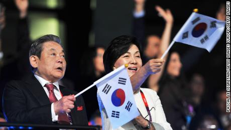 LONDON, ENGLAND - JULY 27:  Chairman of Samsung Electronics Lee Kun Hee with his wife Ra-Hee Hong during the Opening Ceremony of the London 2012 Olympic Games at the Olympic Stadium on July 27, 2012 in London, England.  (Photo by Pascal Le Segretain/Getty Images)