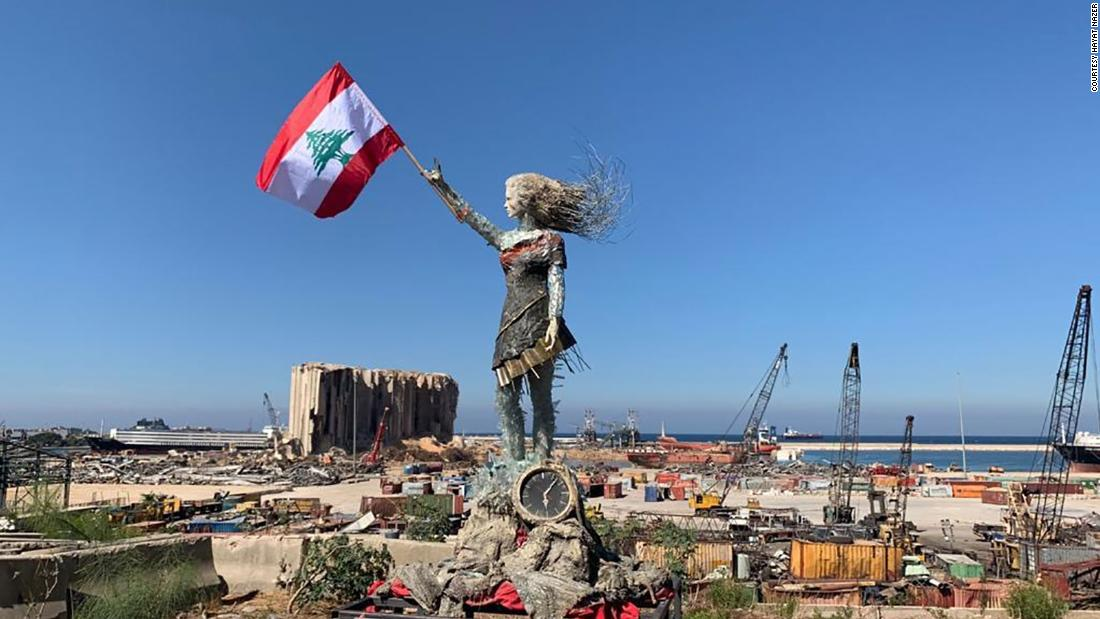 A Lebanese artist created an inspiring statue out of glass and rubble from the Beirut port explosion