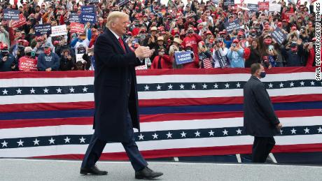 US President Donald Trump holds a Make America Great Again campaign rally at Lancaster Airport in Lititz, Pennsylvania, October 26, 2020.