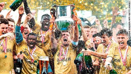 FC Midtjylland celebrating after winning the Danish Superliga in 2018.