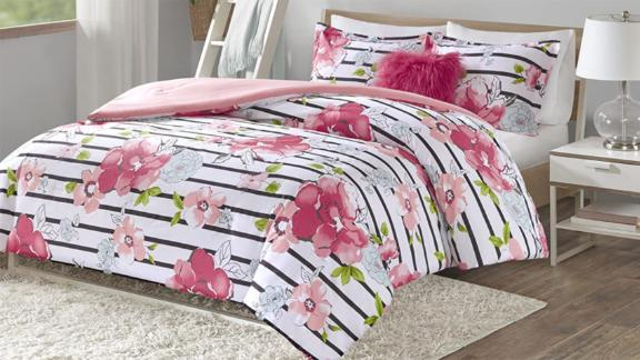 Comfort Spaces Zoe Comforter Set Printed Striped Floral Design