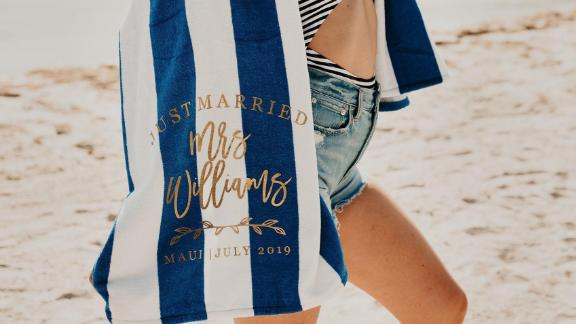 RichDesignCo Just Married Personalized Mrs. Beach Towel