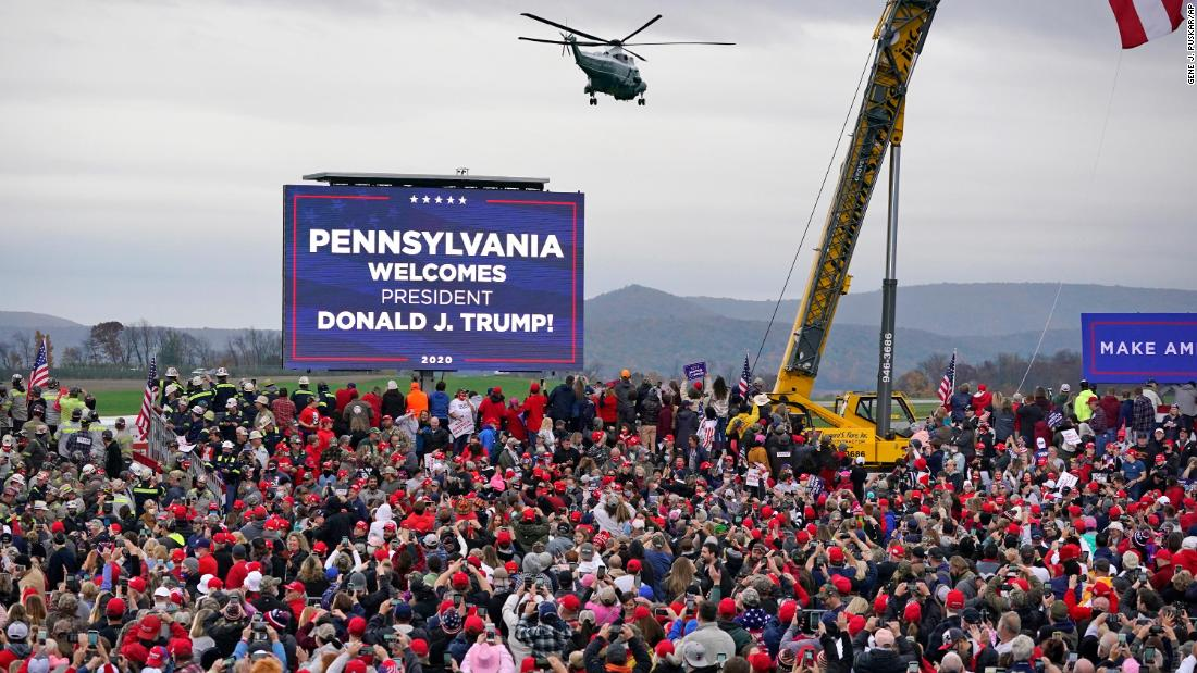 Marine One lands at an airport in Martinsburg, Pennsylvania, where a Trump rally was taking place on October 26.