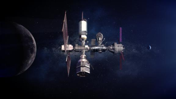 Illustration of the Gateway. Built with commercial and international partners, the Gateway is critical to sustainable lunar exploration and will serve as a model for future missions to Mars.