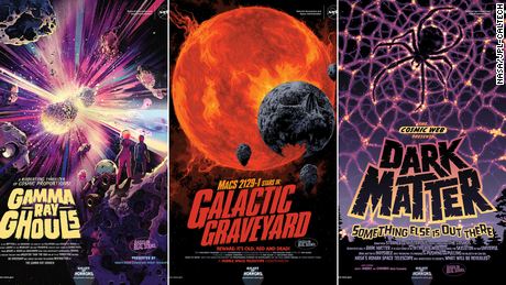 With Halloween just around the corner, NASA has released its latest Galaxy of Horrors posters. Presented in the style of vintage horror movie advertisements, the new posters feature a dead galaxy, an explosive gamma ray burst caused by colliding stellar corpses, and ever-elusive dark matter.