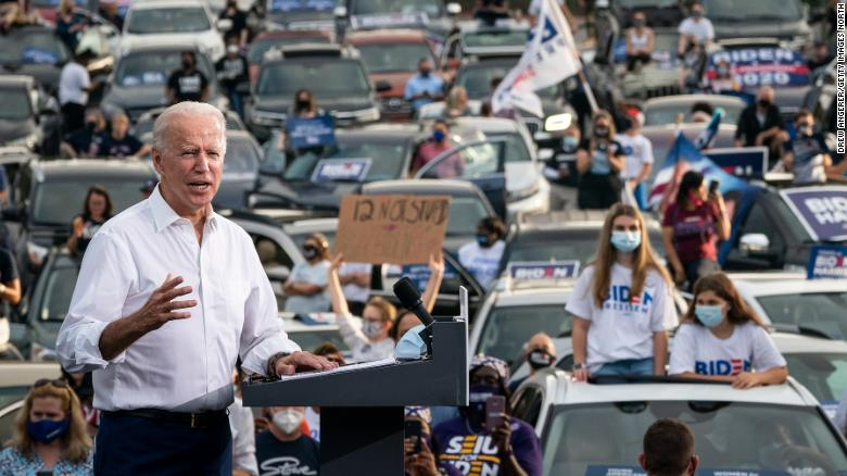 Democratic presidential nominee Joe Biden speaks during a drive-in campaign rally in the parking lot of Cellairis Ampitheatre on October 27, 2020 in Atlanta, Georgia. Biden is campaigning in Georgia on Tuesday, with scheduled stops in Atlanta and Warm Springs.