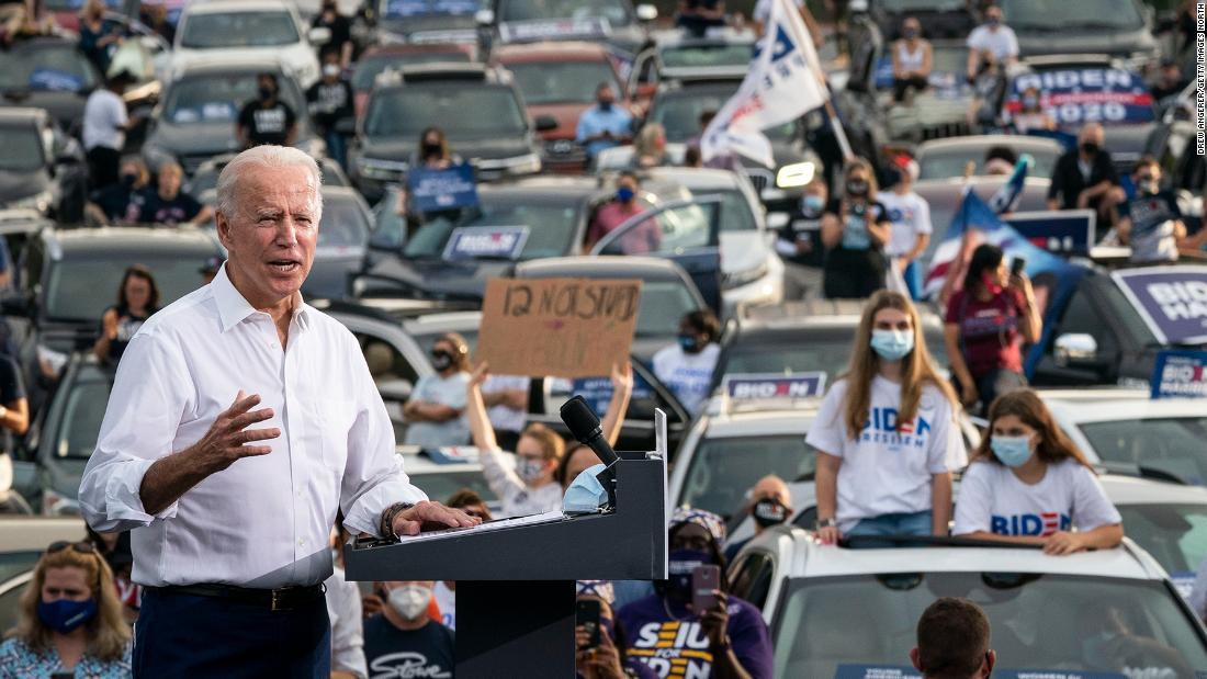 Biden speaks at a drive-in rally in Atlanta on Tuesday, October 27.