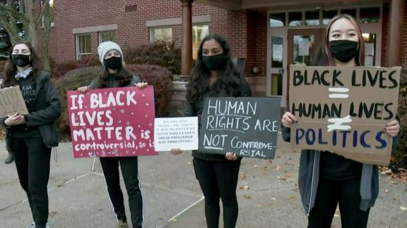 Students in Scarborough, Maine, protest on Tuesday morning in support of Black Lives Matter.