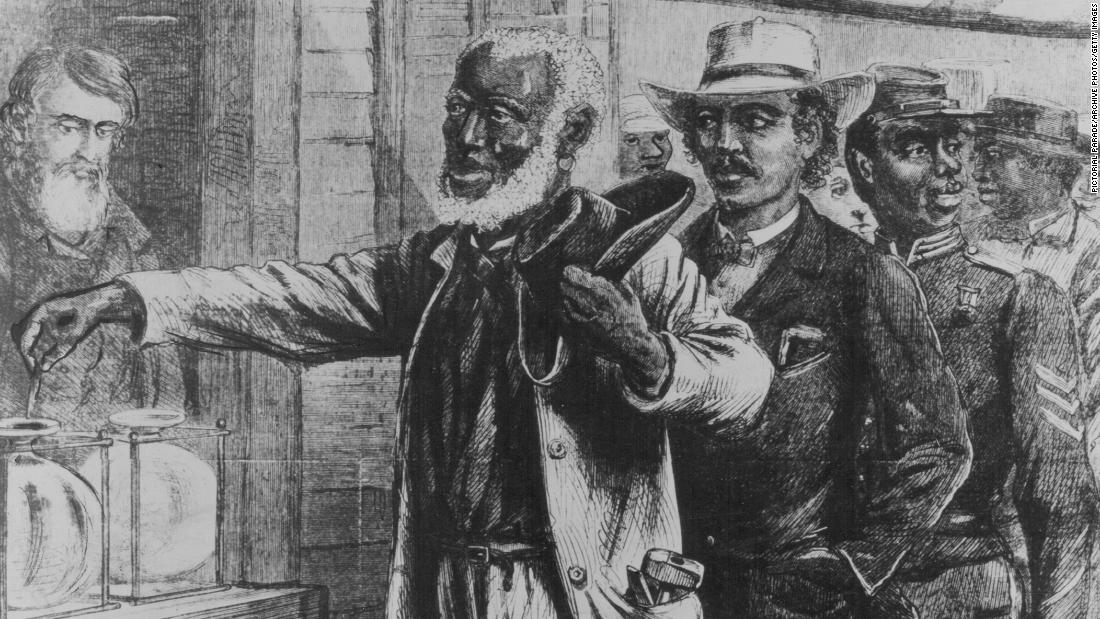This 1867 illustration from Harper's Weekly shows African-American men voting in a state election in the South during Reconstruction. Although Black men were allowed to vote after the Civil War, voting rights for African Americans were continually eroded until the 1960s.