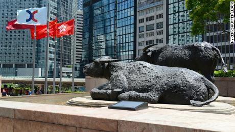 Bull sculptures and flags flying outside Exchange Square, home of the Hong Kong Stock Exchange.