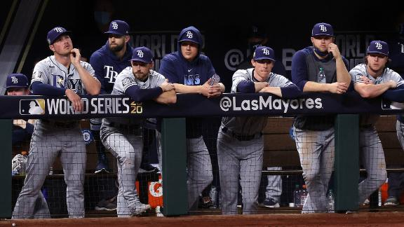 The Tampa Bay Rays look on from the dugout during the ninth inning.