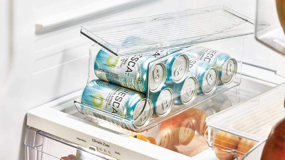 IDesign Fridge Binz Plastic Beverage Can Organizer With Lid