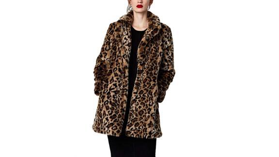 YYW Women Leopard Faux Fur Coat
