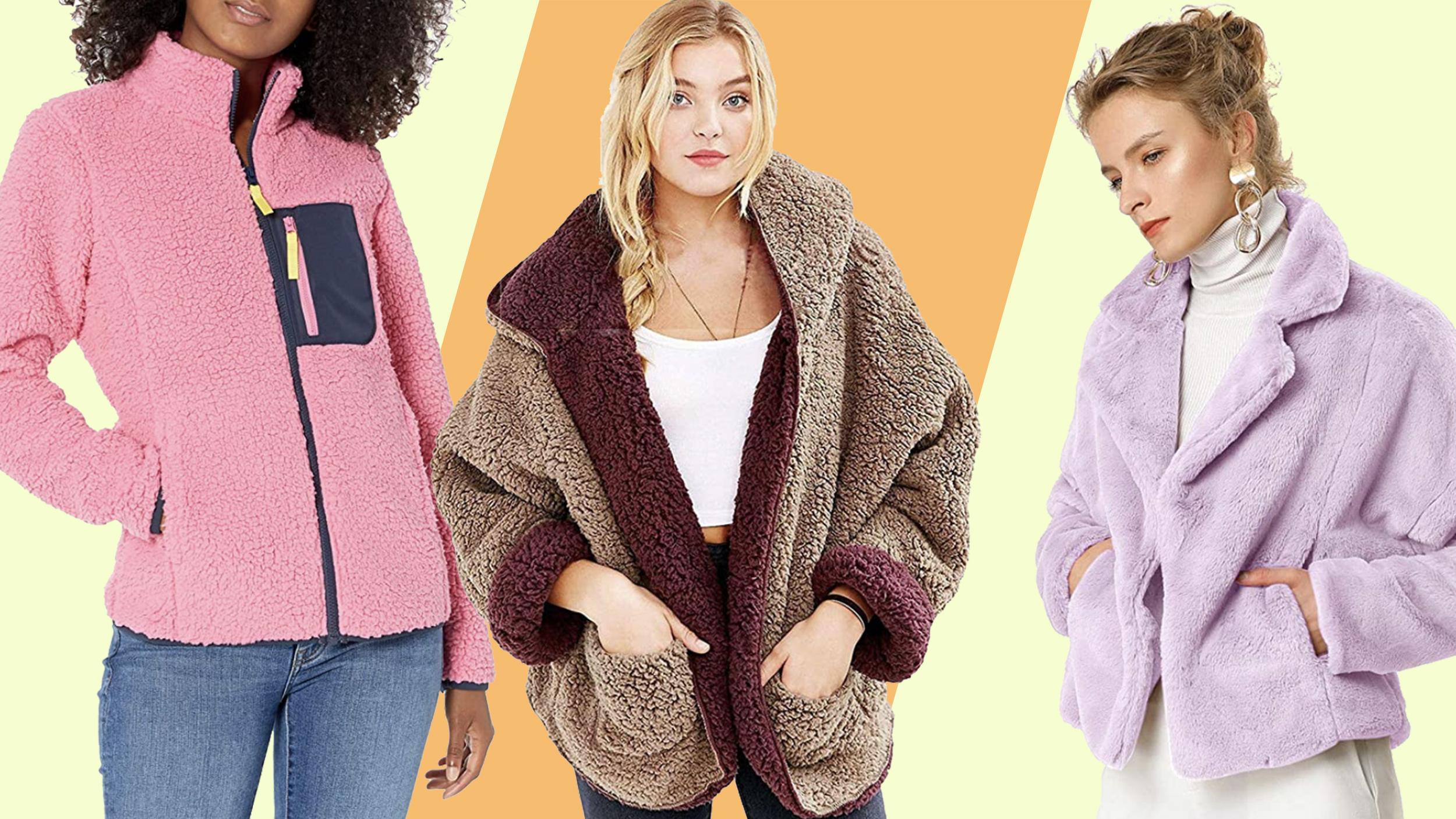 YYW Womens Faux Fur Color Block Casual Sherpa Fleece Zipper Loose Jacket Coat Warm Fuzzy Shaggy Outwear Pockets