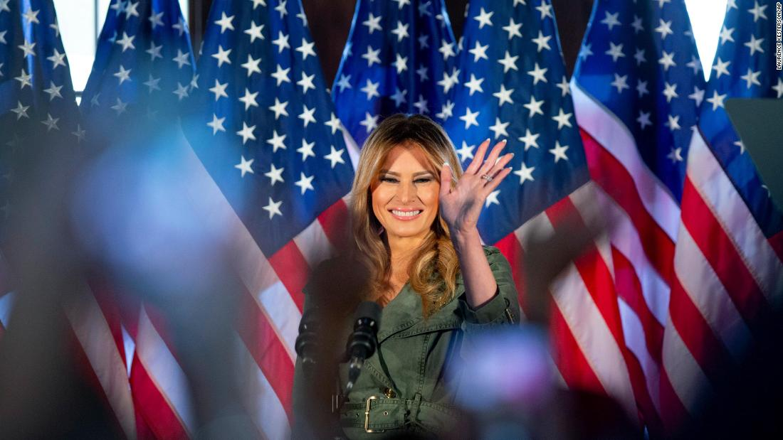 "Melania Trump arrives to speak at an October 27 rally in Atglen, Pennsylvania. <a href=""https://www.cnn.com/2020/10/27/politics/melania-trump-election-2020-coronavirus/index.html"" target=""_blank"">The event</a> marked her first solo appearance on the campaign trail."