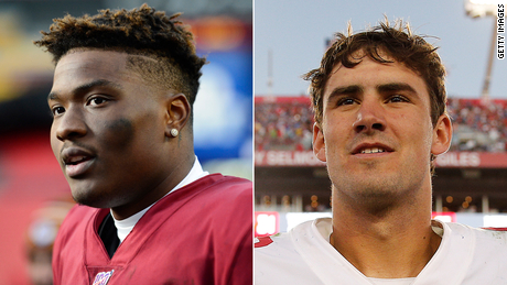 After Daniel Jones (right) was drafted ahead of Dwayne Haskins (left) in the 2019 NFL Draft, some questioned whether the decision was racially motivated.