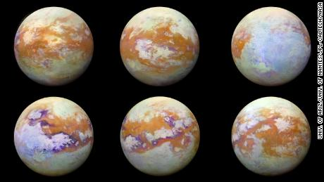 These six infrared images of Saturn's moon Titan were captured using NASA's Cassini spacecraft.