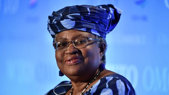 Nigerian former Foreign and Finance Minister Ngozi Okonjo-Iweala smiles during a press conference on July 15, 2020, in Geneva, following her hearing before World Trade Organization 164 member states' representatives, as part of the application process to head the WTO as Director General. (Photo by Fabrice COFFRINI / AFP) (Photo by FABRICE COFFRINI/AFP via Getty Images)