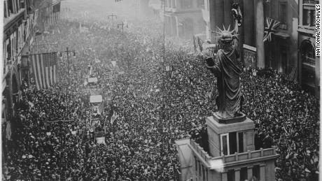 The announcement of the armistice on November 11, 1918 was the occasion for a grand celebration in Philadelphia.  Thousands of participants became infected with the flu.