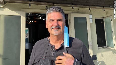 Ed Hart at his salon in Hermosa Beach, California, where his financial future is uncertain.