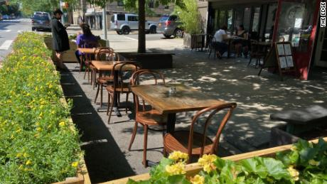 The Edge's outdoor seating setup.
