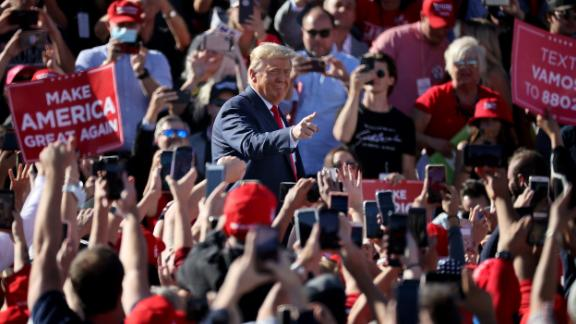 President Donald Trump arrives for a campaign rally at Phoenix Goodyear Airport on Wednesday, October 28, in Goodyear, Arizona.