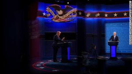 US President Donald Trump and Democratic Presidential candidate and former US Vice President Joe Biden participate in the final presidential debate in Nashville, Tennessee, on October 22, 2020.