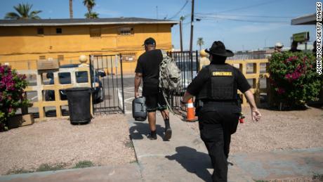 Maricopa County constable Darlene Martinez evicts a tenant on October 7, 2020 in Phoenix, Arizona.